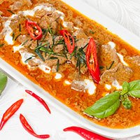 A dish of chicken Panang curry at our Khao Soi Thai Cafe in Kendal