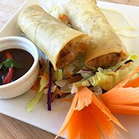 A plate of duck spring rolls and hoisin sauce from our Khao Soi Cafe menu