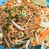 A plate of Pad Thai noodles at our Khao Soi Thai Cafe in Kendal