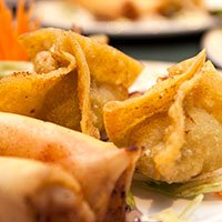 A plate of crispy wonton at our Khao Soi Thai Cafe in Kendal