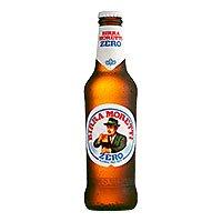 A bottle of birra moretti zero alcohol free beer