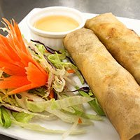A plate of vegetable spring rolls from our Thai tapas menu